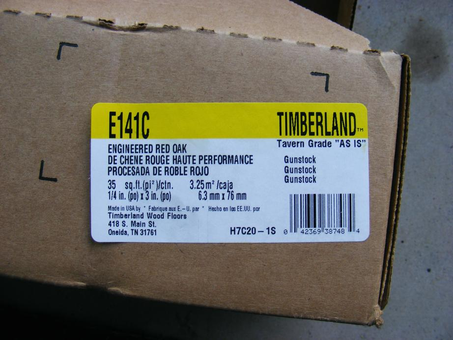 A closer look at the label showing Timberland TAVERN GRADE