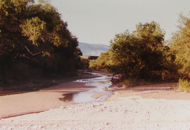 Running Water in the Desert at Cienega Creek with a Train Trestle in the Background