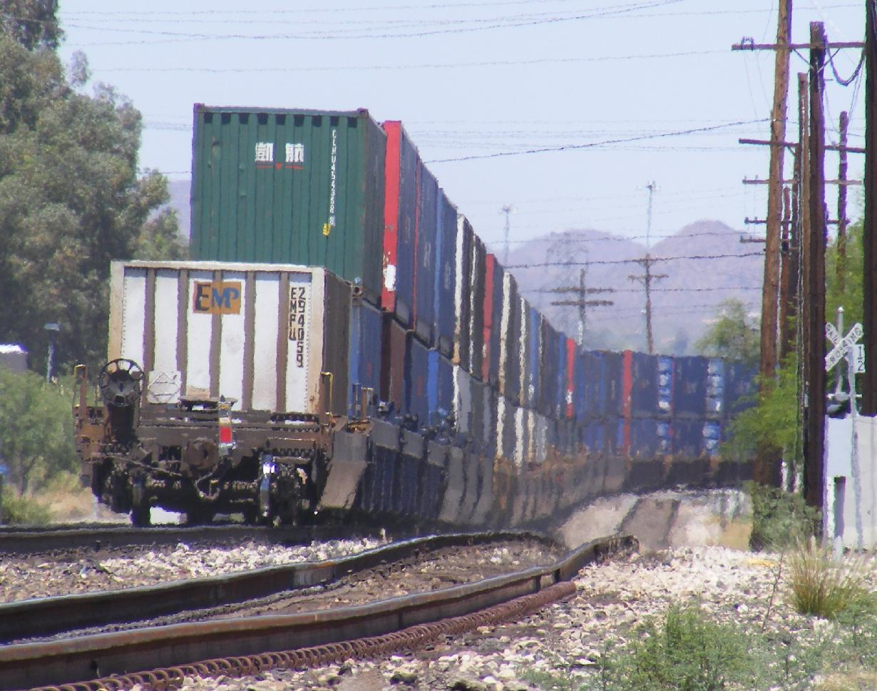 Train in Downtown Tucson Disappearing into the Heat Mirage