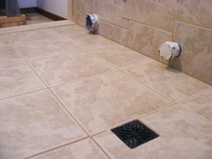 Ceramic Tile Basin Floor Close-up