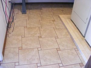 Finished Ceramic Floor Tile, Catch Basin Perimeter and Baseboards