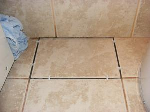 Ceramic Tile Replacement with Spacers in Place